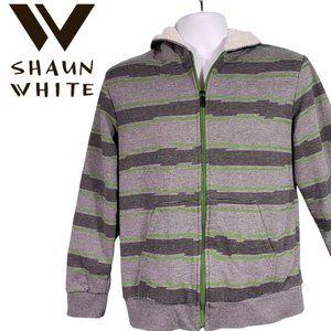 SHAUN WHITE Gray Striped Sherpa Lined Zip Hoodie L